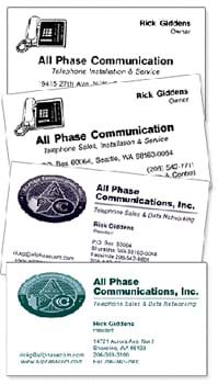 All Phase's business cards over the years
